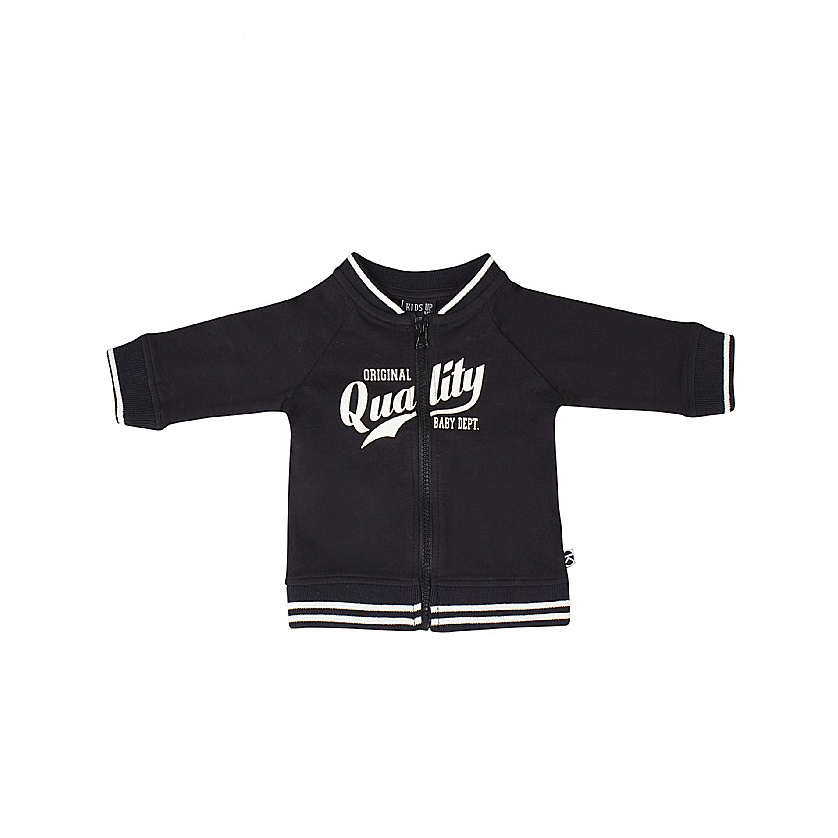 KIDS-UP BABY | CARDIGAN MED HVIDSTRIBET RIBKANTER - SORT